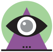 illustration of eyeball in front of pyramid