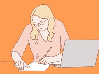 illustration of woman writing