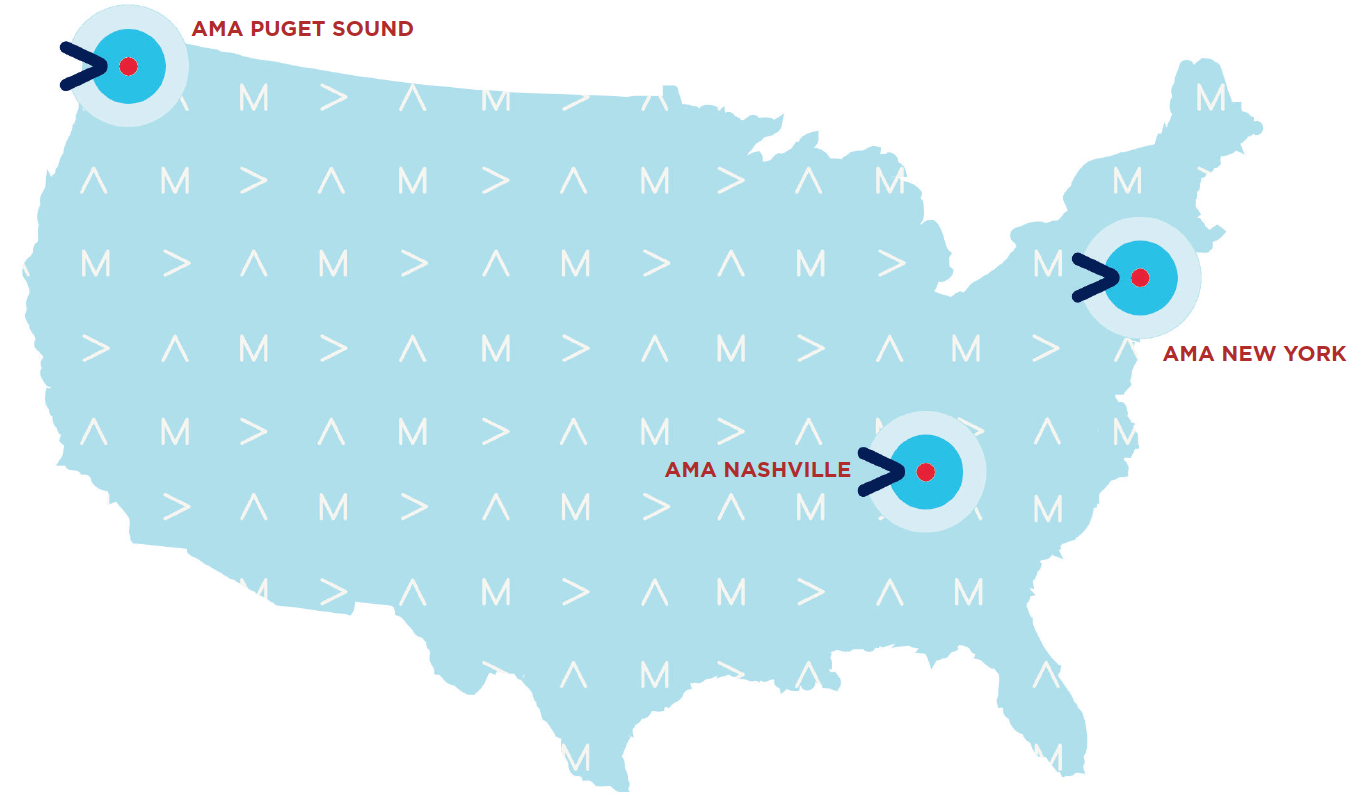 map pointing out AMA Puget Sound, AMA Nashville and AMA New York chapters