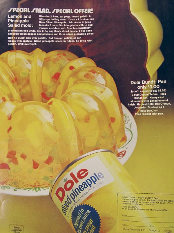 lemon and pineapple salad mold dole sliced pineapple ad