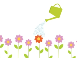 illustration of watering can and flowers