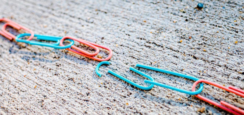 broken chain of paper clips