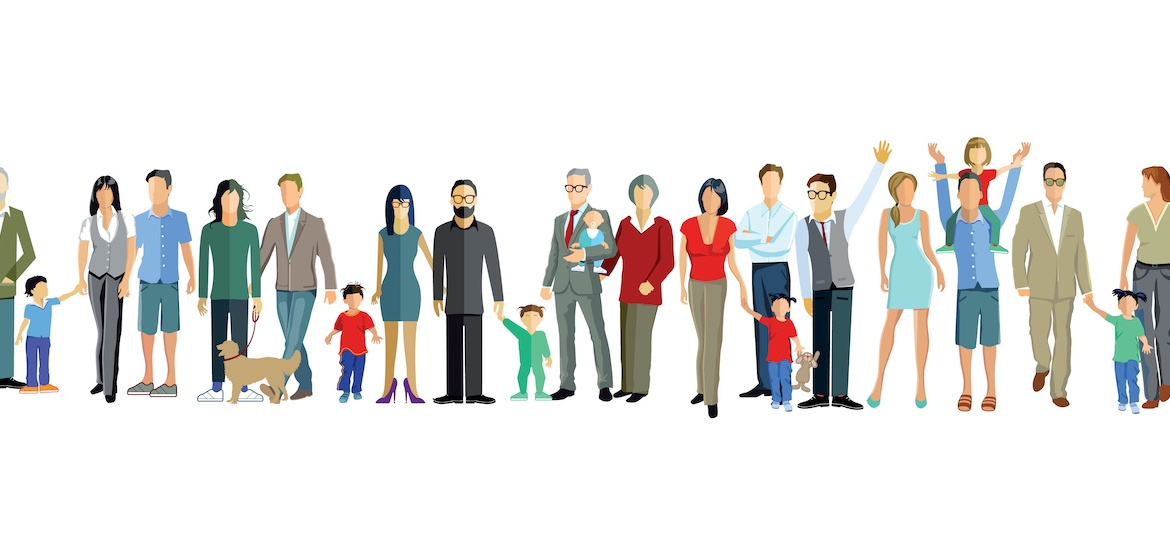 illustration of generations of people