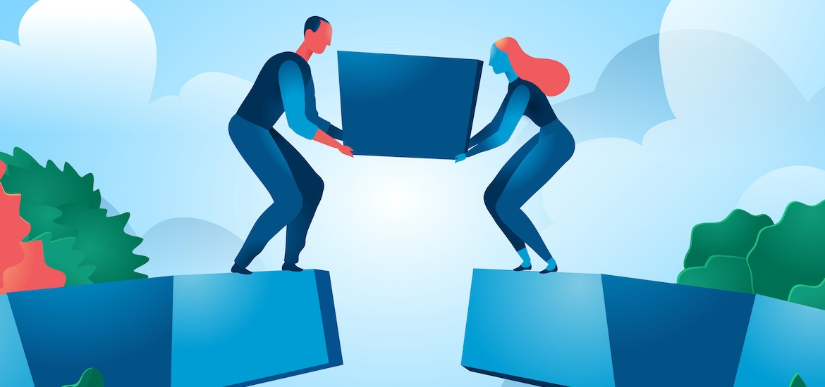 illustration of two people placing keystone at top of arch