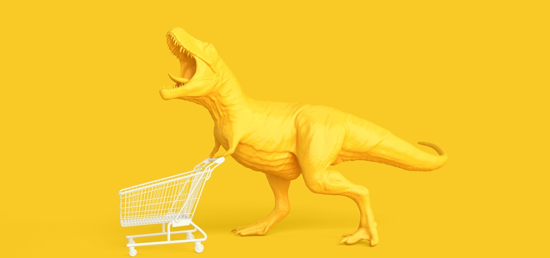 yellow dinosaur with shopping cart