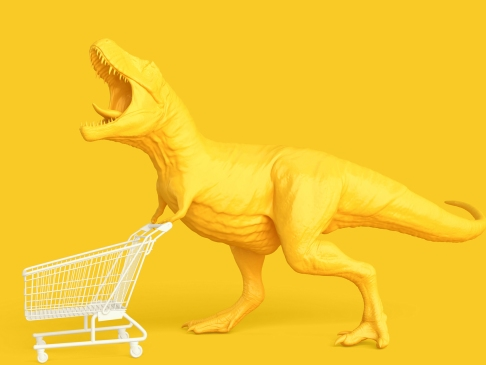 yellow dinosaur with shopping cart