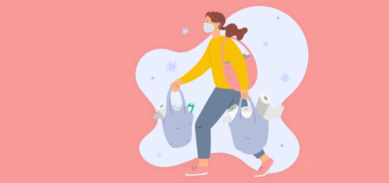 illustration of masked shopper