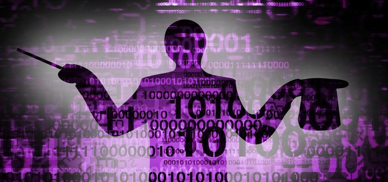 magician overlaid with purple binary code