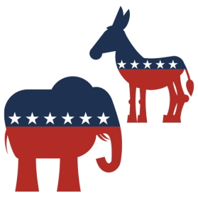 graphic of political Republican elephant and Democratic donkey