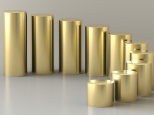 gold cylinders descending in size