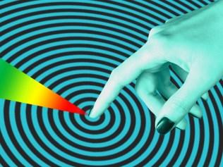 abstract illustration of finger pointing to center of bullseye