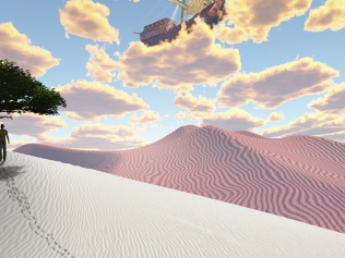 abstract illustration of sunset over sand dunes